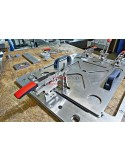 Horizontal toggle clamp with open arm and vertical base plate STC-HV